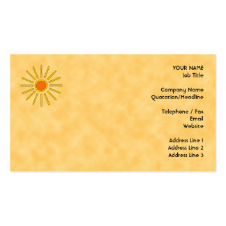 Summer sun. Warm yellow colors. Business Cards