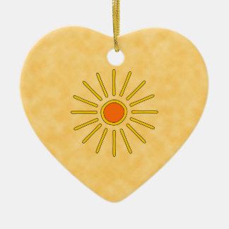 Summer sun. Warm yellow colors. Ceramic Ornament