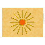 Summer sun. Warm yellow colors. Greeting Card