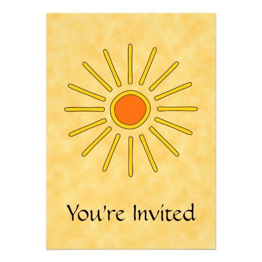 Summer sun. Warm yellow colors. Custom Announcements