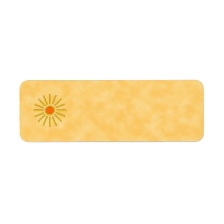 Summer sun. Warm yellow colors. Label