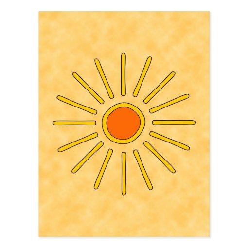 Summer sun. Warm yellow colors. Postcard