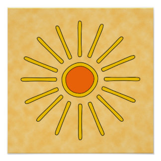 Summer sun. Warm yellow colors. Poster