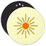 Summer sun. Yellow and orange. 6 Inch Round Button