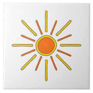 Summer sun. Yellow and orange. Ceramic Tile