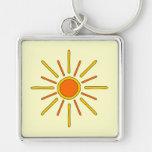Summer sun. Yellow and orange. Key Chain