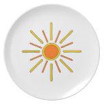 Summer sun. Yellow and orange. Plate