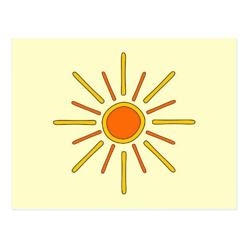 Summer sun. Yellow and orange. Postcard