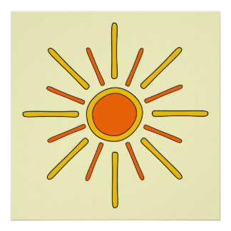 Summer sun. Yellow and orange. Posters