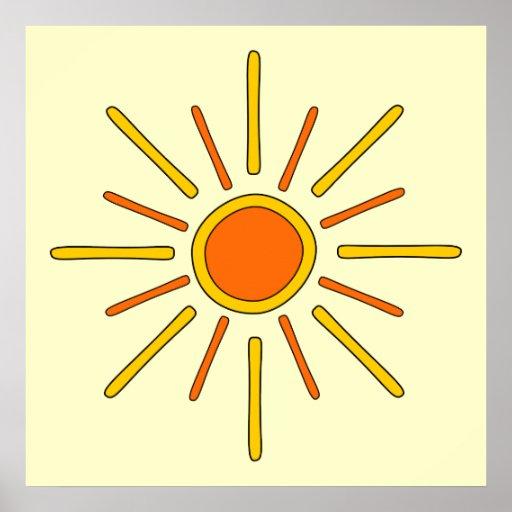 Summer sun. Yellow and orange. Poster