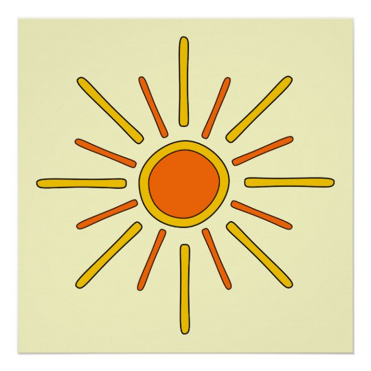 Summer sun. Yellow and orange. Poster