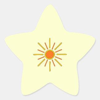 Summer sun. Yellow and orange. Star Sticker