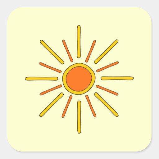 Summer sun. Yellow and orange. Stickers