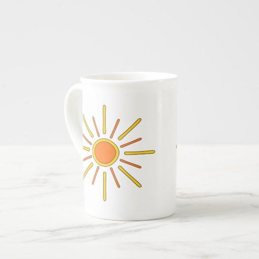Summer sun. Yellow and orange. Tea Cup