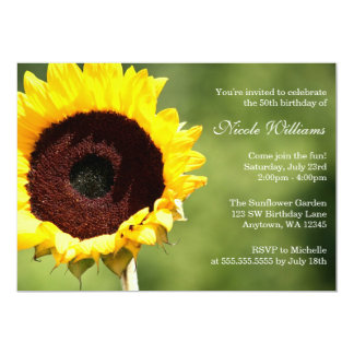 Summer Sunflower 50th Birthday Party Invitations