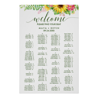 Summer Sunflower Alphabetical Seating Chart