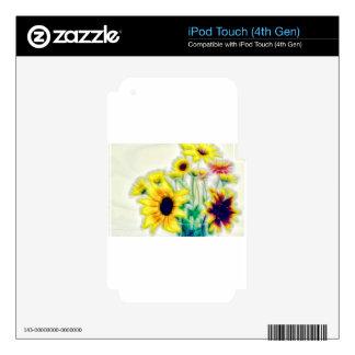 Summer Sunflower and Strawflower Bouquet iPod Touch 4G Decals