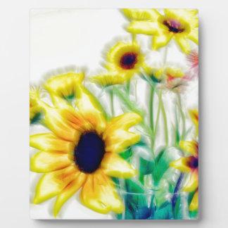 Summer Sunflower and Strawflower Bouquet Plaque