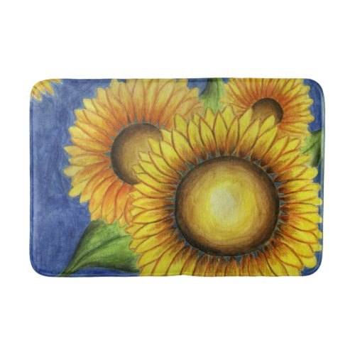 Summer Sunflower Bath Bathroom Mat Rug Gift