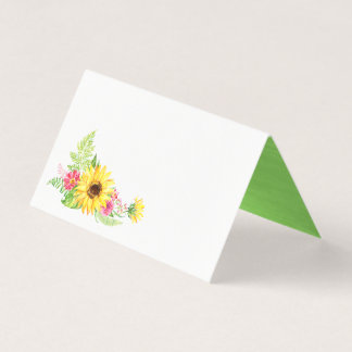 Summer Sunflower Buffet Food Label Cards