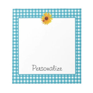 Summer Sunflower Gingham With Name Memo Pads