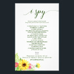 """Summer Sunflower I Spy Game Flyer<br><div class=""""desc"""">This summer sunflower &quot;I Spy&quot; game is perfect for a spring or summer wedding reception. The front of the game card features &quot;find the guest&quot;, and the back of the card features &quot;I spy&quot;. The design features floral greenery with bright yellow sunflowers and pink gerbera flowers. Personalize the front of...</div>"""