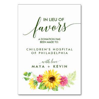 Summer Sunflower In Lieu of Favors Wedding Card