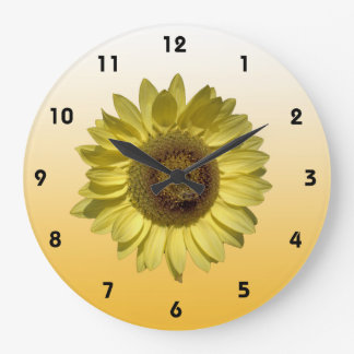 Summer sunflower in light yellow gradient color large clock