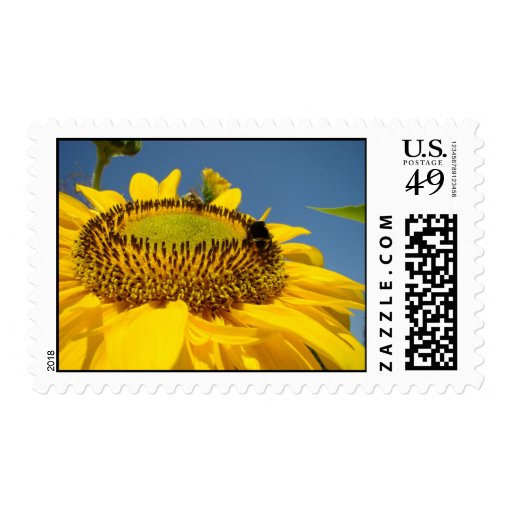 Summer Sunflower postage stamps Bumble Bee