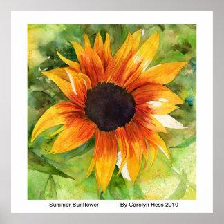 Summer Sunflower Watercolor Poster
