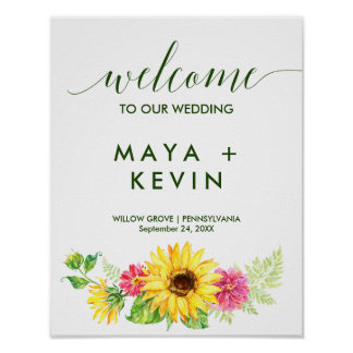 Summer Sunflower Welcome Wedding Poster