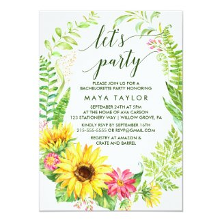Summer Sunflower Wreath Let's Party Card