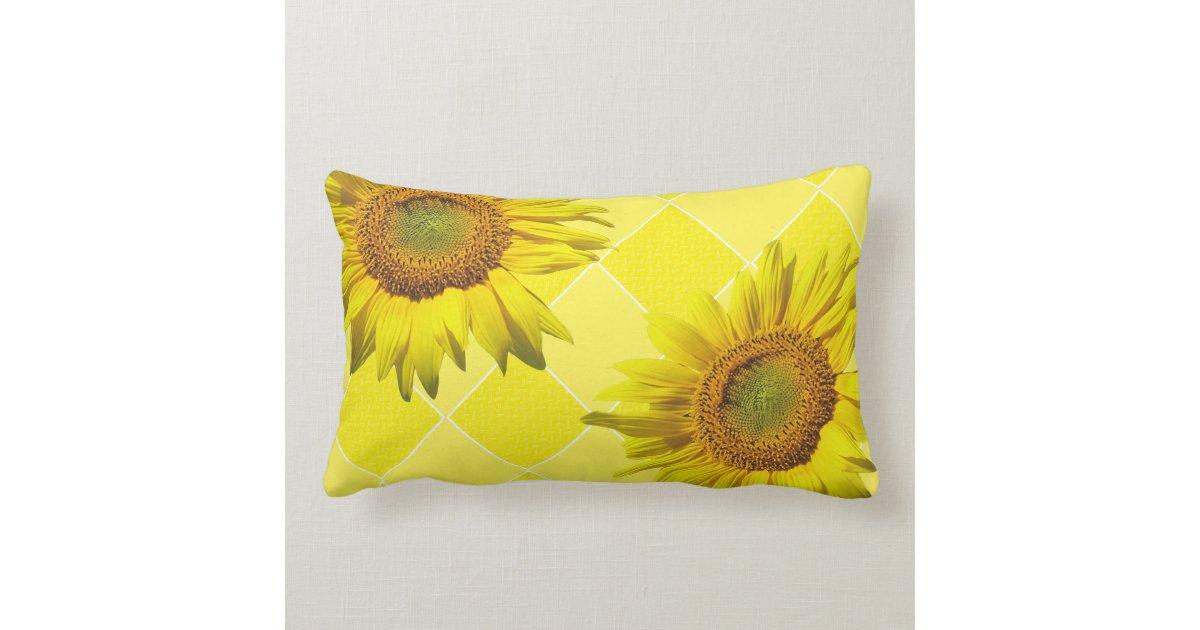 Sunflower Cushion Knitting Pattern : Summer Sunflower Yellow Pattern Lumbar Pillow Zazzle