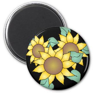 SUMMER SUNFLOWERS by SHARON SHARPE 2 Inch Round Magnet