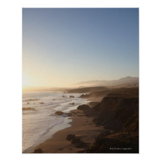 Summer sunset along california highway 1 along poster