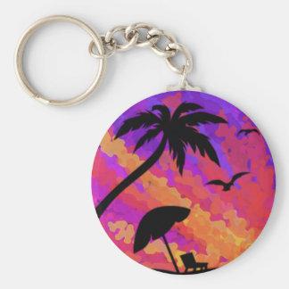 Summer Sunset Basic Round Button Keychain
