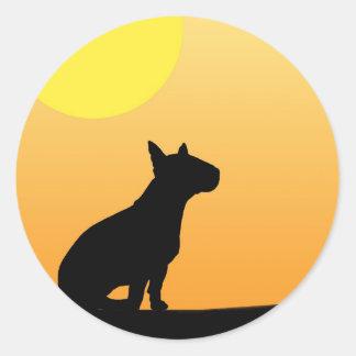 Summer Sunset Bull Terrier Classic Round Sticker