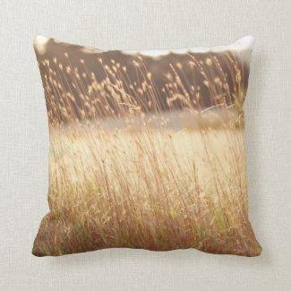 Summer Sunset Field Grass Throw Pillow