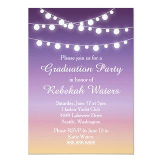 Summer Sunset Lights Graduation Party Card