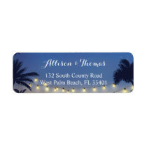 Summer Sunset Palm Beach String Lights Label