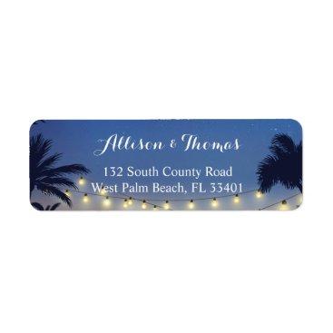 Summer Sunset Palm Beach String Lights Label