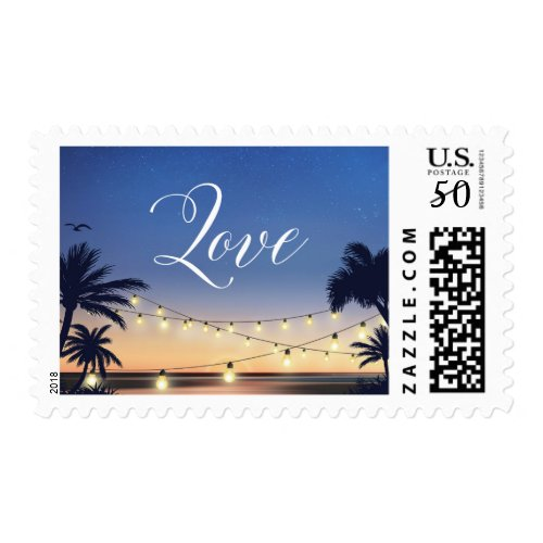 Summer Sunset Palm Beach Lights Love Script Postage