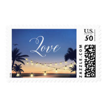Summer Sunset Palm Beach String Lights Love Script Postage