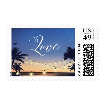 Summer Sunset Palm Beach String Lights Love Script Postage