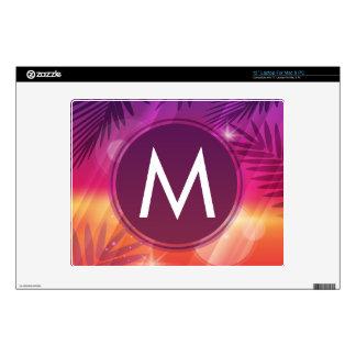 "Summer Sunset Palm Trees Monogram Purple Orange 12"" Laptop Decals"