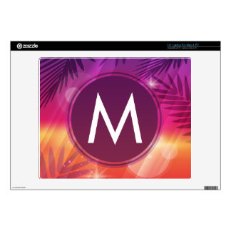 "Summer Sunset Palm Trees Monogram Purple Orange 14"" Laptop Skin"