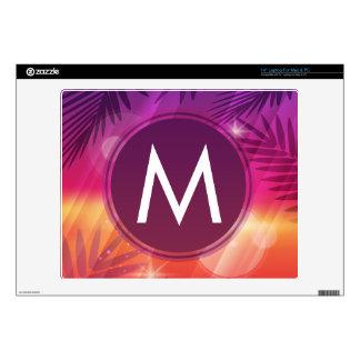 "Summer Sunset Palm Trees Monogram Purple Orange 14"" Laptop Skin"