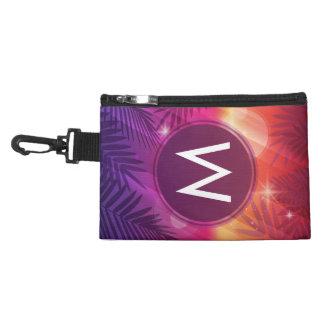 Summer Sunset Palm Trees Monogram Purple Orange Accessory Bag