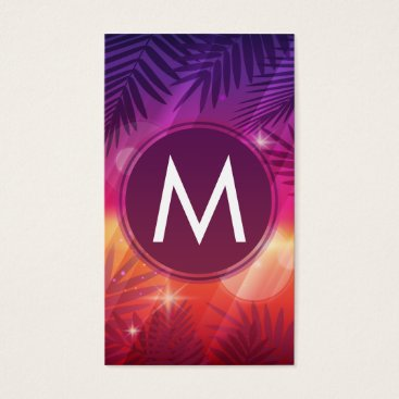 Beach Themed Summer Sunset Palm Trees Monogram Purple Orange Business Card