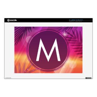 "Summer Sunset Palm Trees Monogram Purple Orange Decal For 13"" Laptop"